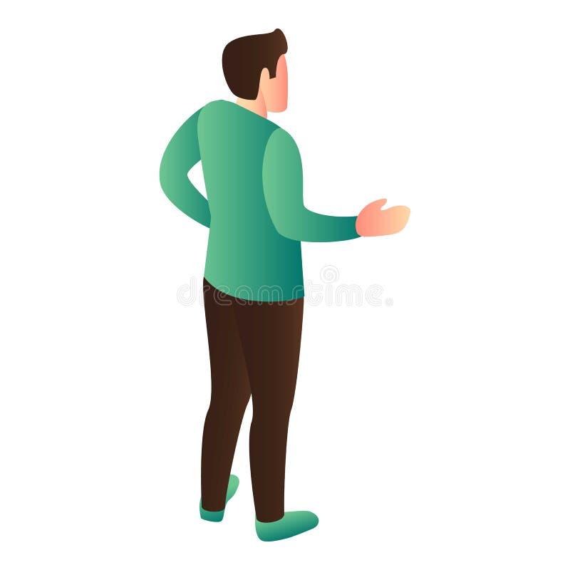 L'homme expliquent l'icône, style isométrique illustration libre de droits