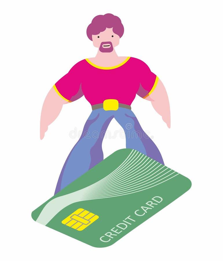 L'homme fait l'achat facilement Surfant sur une carte de crédit, concentration commode de paiement Plaisir d'achat illustration libre de droits