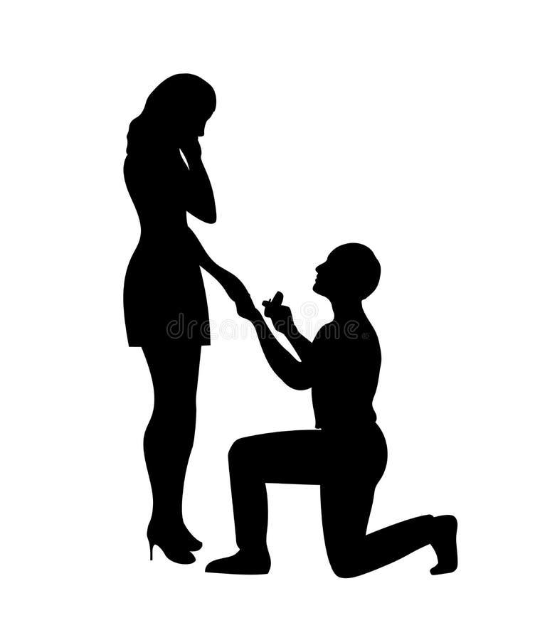 L'homme fait une proposition de mariage pour la fille illustration libre de droits