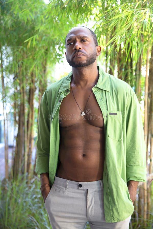L'homme gai bel d'afro-am?ricain se tient dans la jungle tropicale image libre de droits