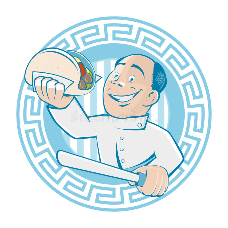 L'homme grec sert les compas gyroscopiques ou le doner illustration de vecteur