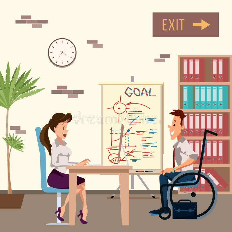 L'homme handicapé ont l'entrevue d'emploi avec la femme de bureau illustration stock
