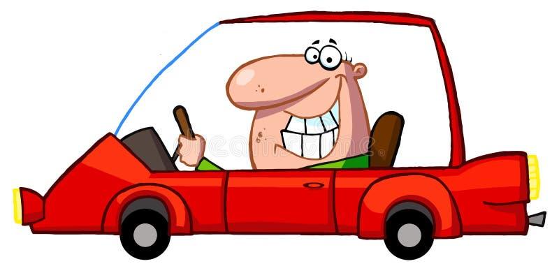 L'homme heureux conduit la voiture de sport illustration de vecteur