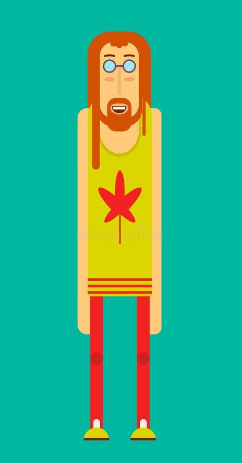 L'homme hippie rond-a épaulé l'affiche d'isolement de vecteur dans la conception graphique illustration de vecteur