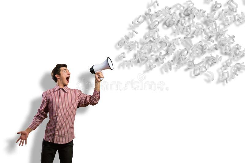 L'homme hurle dans un mégaphone images stock