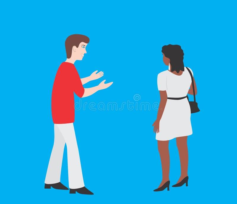 L'homme invite la femme illustration libre de droits