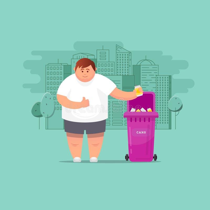 L'homme jette des déchets dans les déchets illustration stock