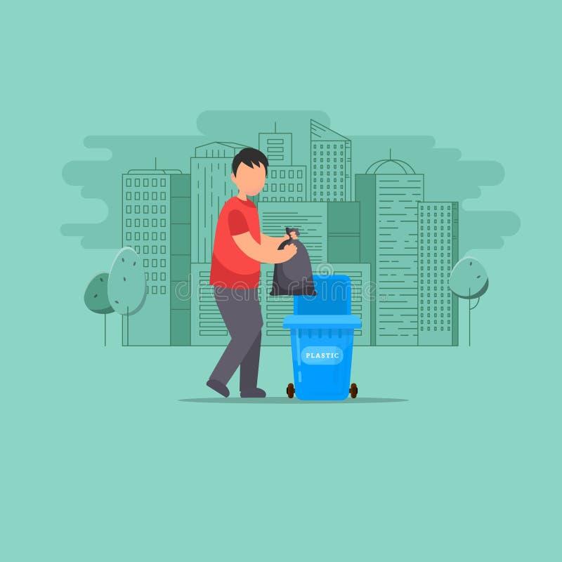 L'homme jette des déchets dans les déchets illustration de vecteur