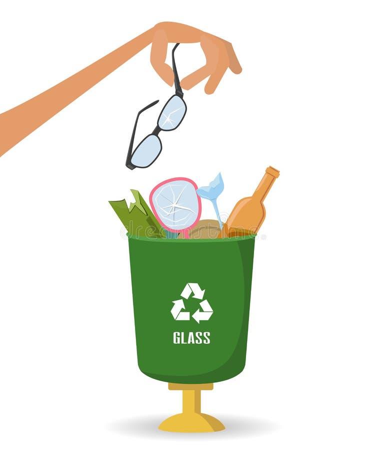 L'homme jette des déchets dans un récipient en verre sur le fond blanc illustration de vecteur