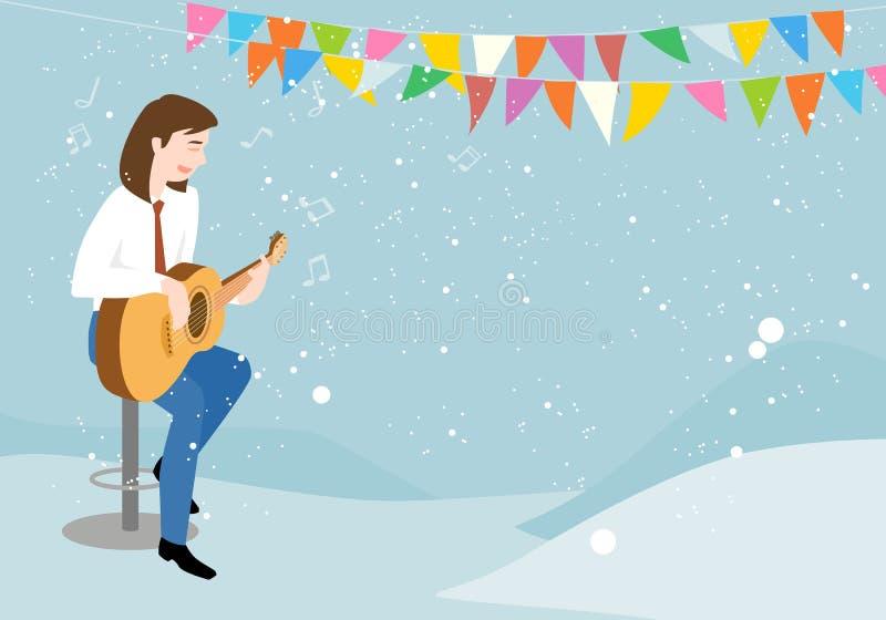 L'homme jouant la guitare et chantant heureusement illustration de vecteur