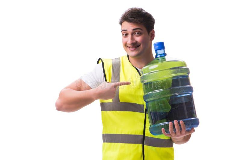 L'homme livrant la bouteille d'eau d'isolement sur le blanc photo libre de droits