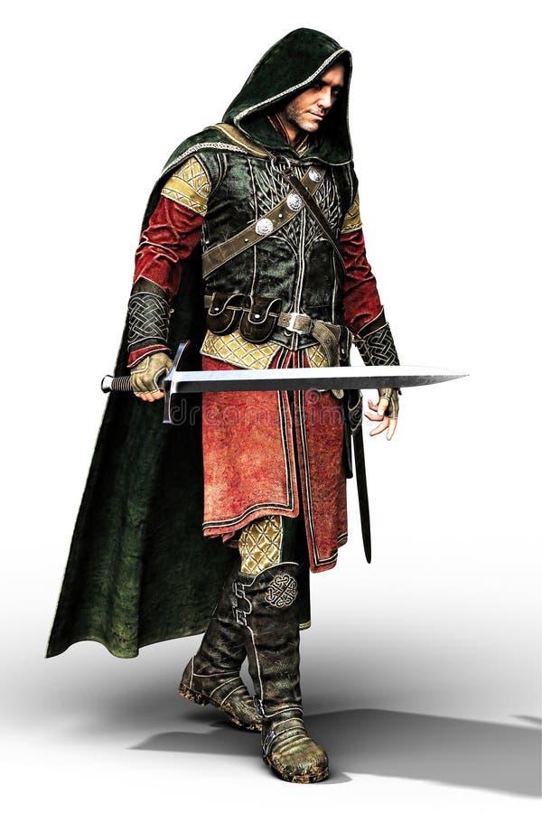 L'homme médiéval à capuchon rendent illustration libre de droits