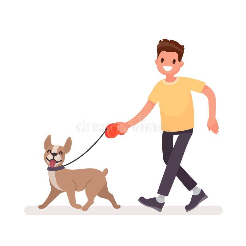 L'homme marche avec un chien Illustration de vecteur illustration libre de droits