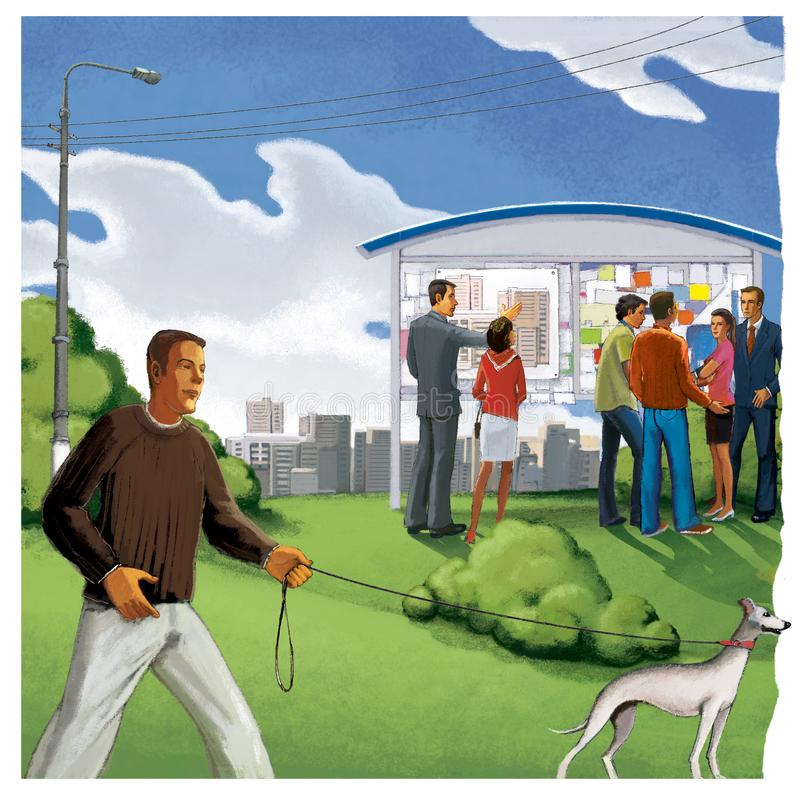 L'homme marche un chien Un groupe de personnes à un conseil de l'information dépeignant un plan de construction Agents immobilier illustration de vecteur
