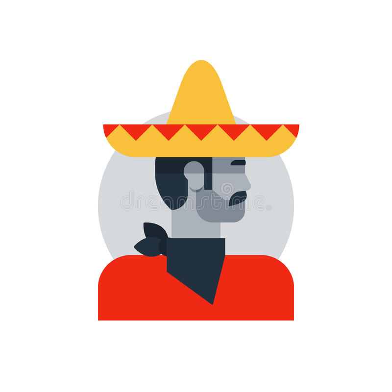 L'homme mexicain dans le sombrero et le poncho, vue de côté a tourné le héros principal et brutal illustration libre de droits