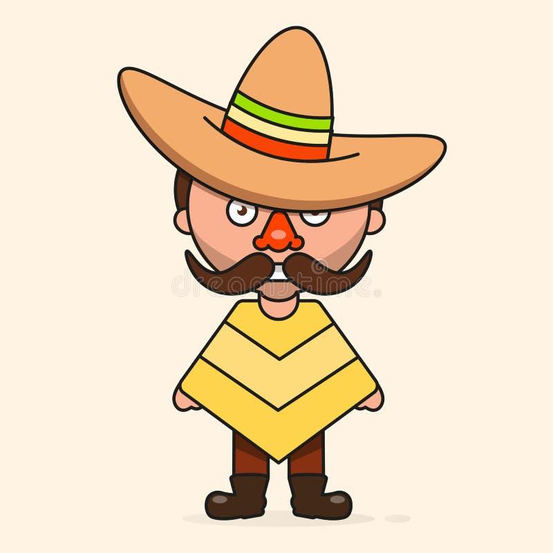L'homme mexicain de bande dessinée, préparent pour votre conception, carte de voeux, bannière Vecteur illustration libre de droits