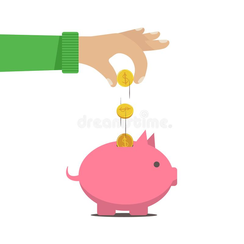 L'homme a mis l'argent dans une tirelire d illustration de vecteur