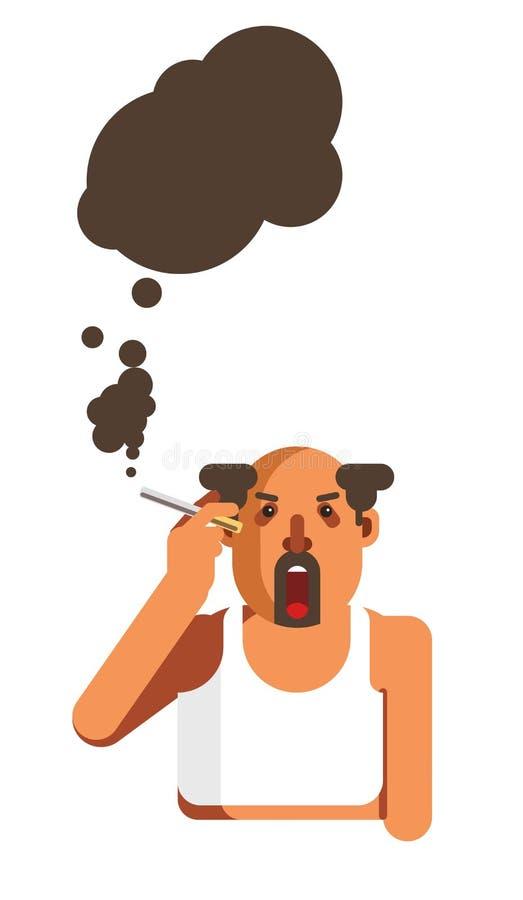 l'homme Moitié-chauve avec la barbe fume la cigarette et écarte la fumée noire illustration stock