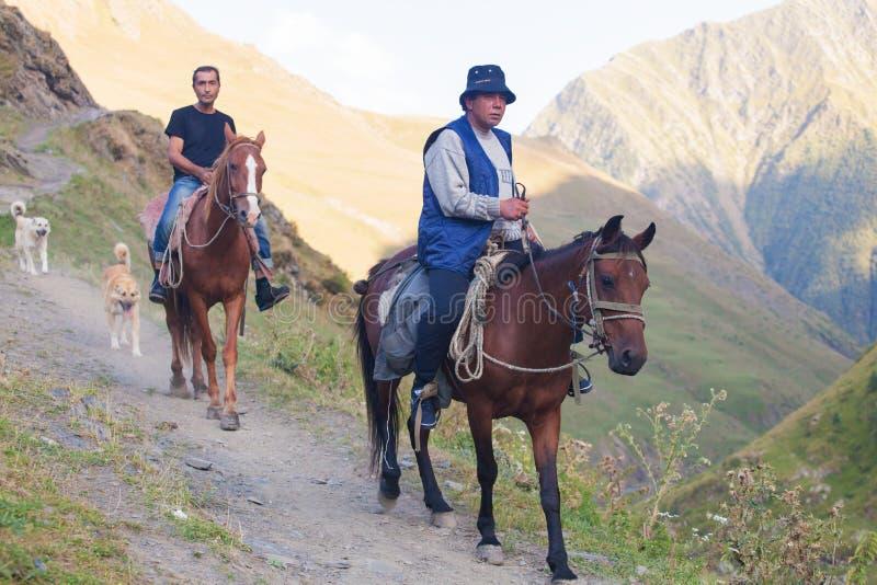 L'homme monte un cheval dans les montagnes, Caucase, la G?orgie photo libre de droits