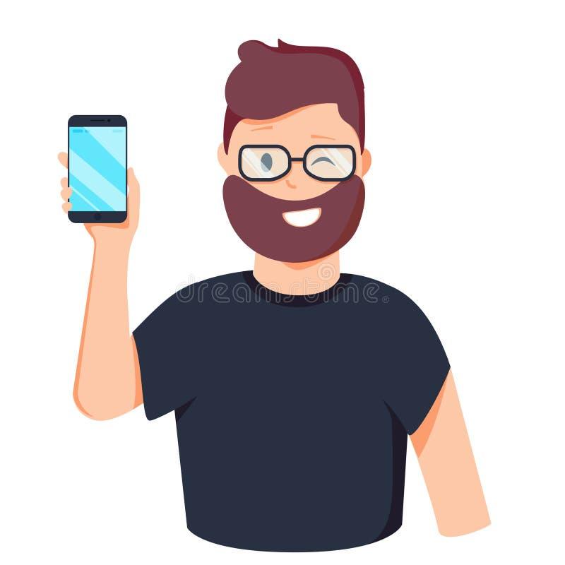 L'homme montre le téléphone Les gens et les instruments Illustration de vecteur dans le style de bande dessinée illustration libre de droits