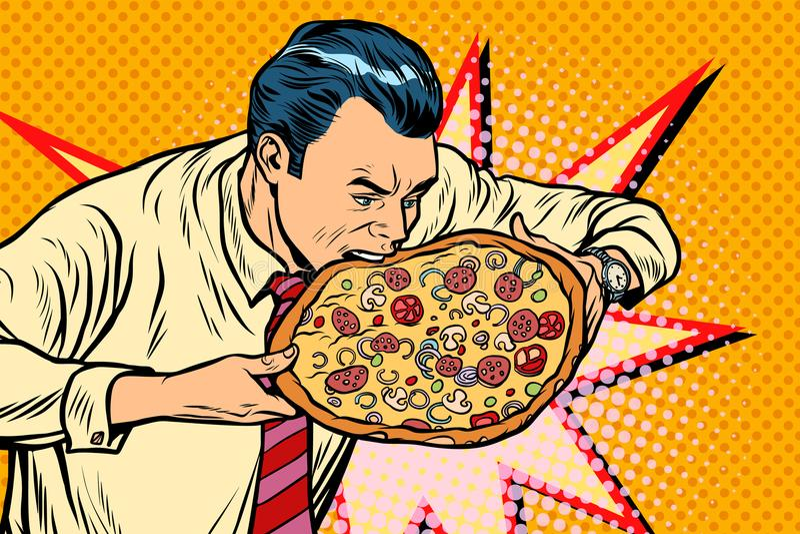 L'homme mord la pizza illustration libre de droits