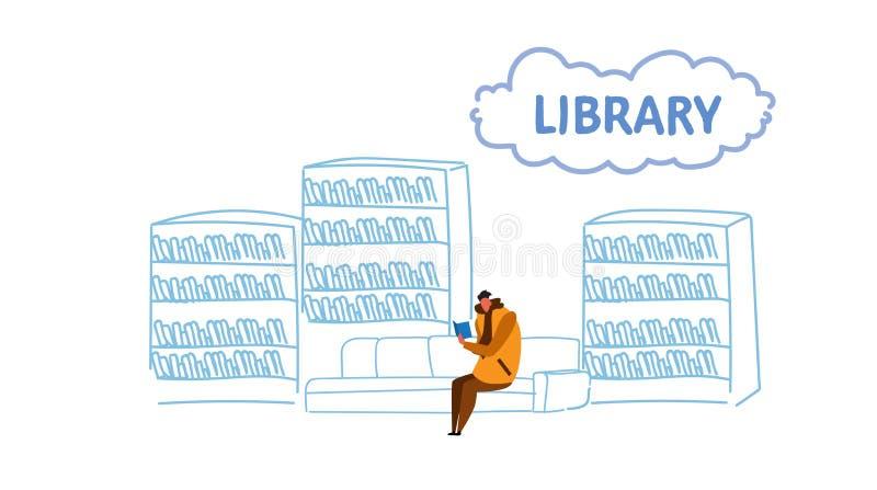 L'homme occasionnel s'asseyant sur le divan dans l'étudiant de bibliothèque lit l'intérieur de salle de lecture d'étagère de conc illustration de vecteur