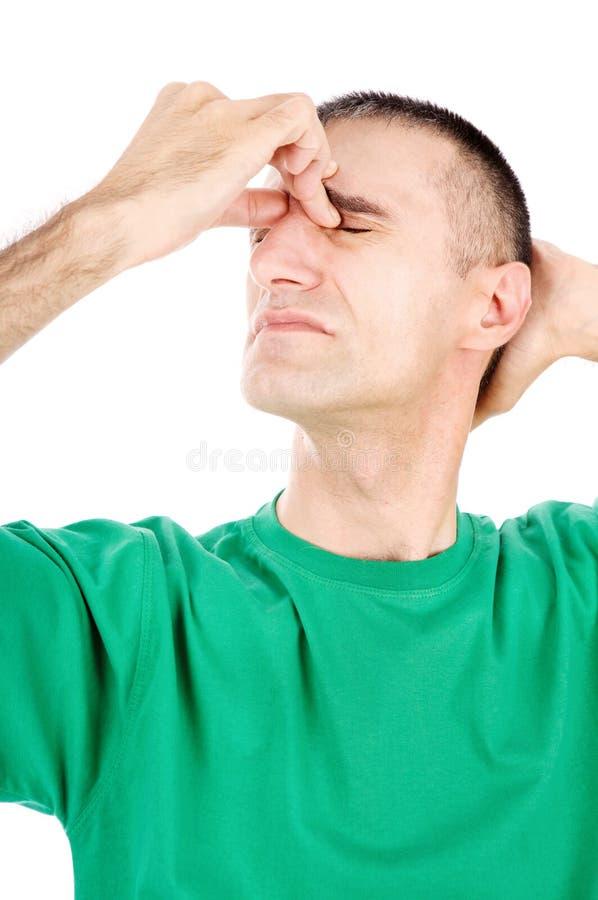 L'homme ont l'attaque de migraine image libre de droits