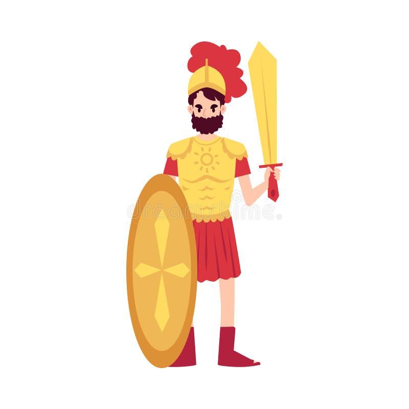 L'homme ou le Dieu grec d'Ares se tient dans le style de bande dessinée d'épée et de bouclier de participation d'armure illustration de vecteur