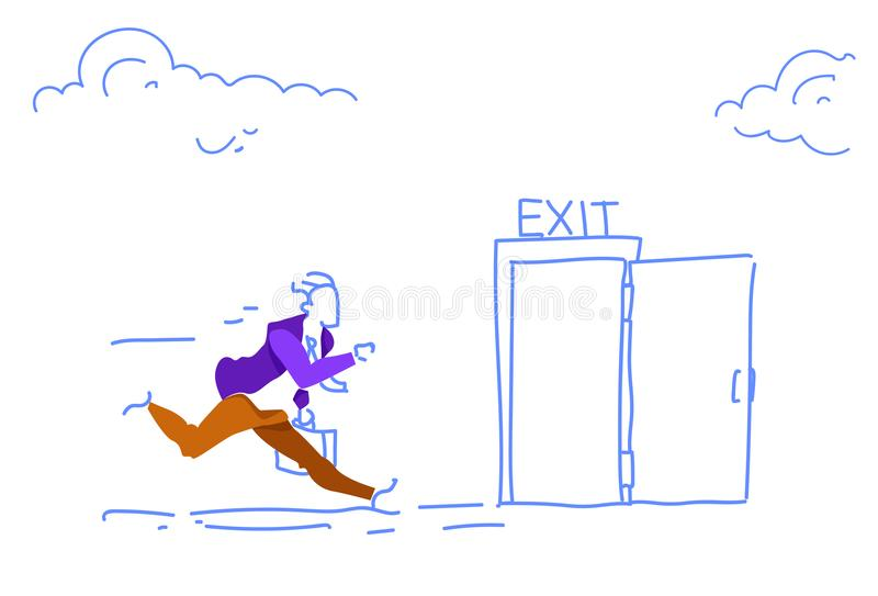 L'homme ouvert de porte de sortie de course d'homme d'affaires dépêchent le griffonnage horizontal de croquis de secours d'évacua illustration libre de droits