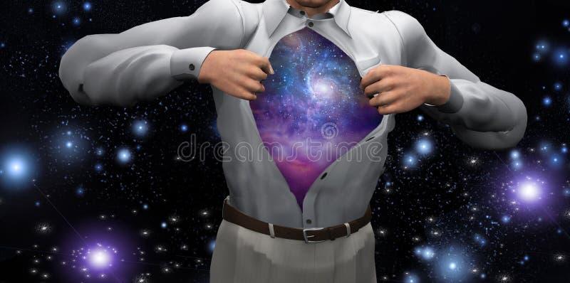 L'homme ouvre la chemise pour indiquer les galaxies illustration libre de droits