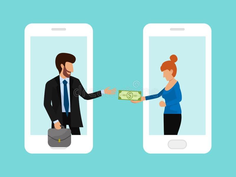 L'homme passe l'argent de femme par l'illustration en ligne de vecteur de concept de transfert d'argent de smartphone Recevez les illustration de vecteur