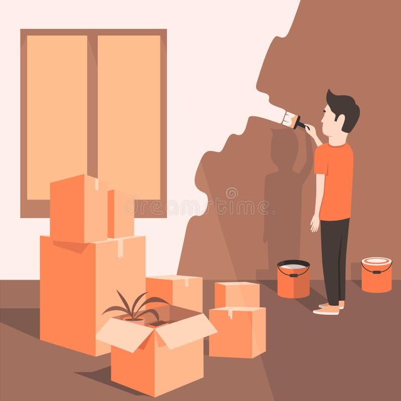 l 39 homme peint le mur la maison type de dessin anim illustration de vecteur illustration de. Black Bedroom Furniture Sets. Home Design Ideas