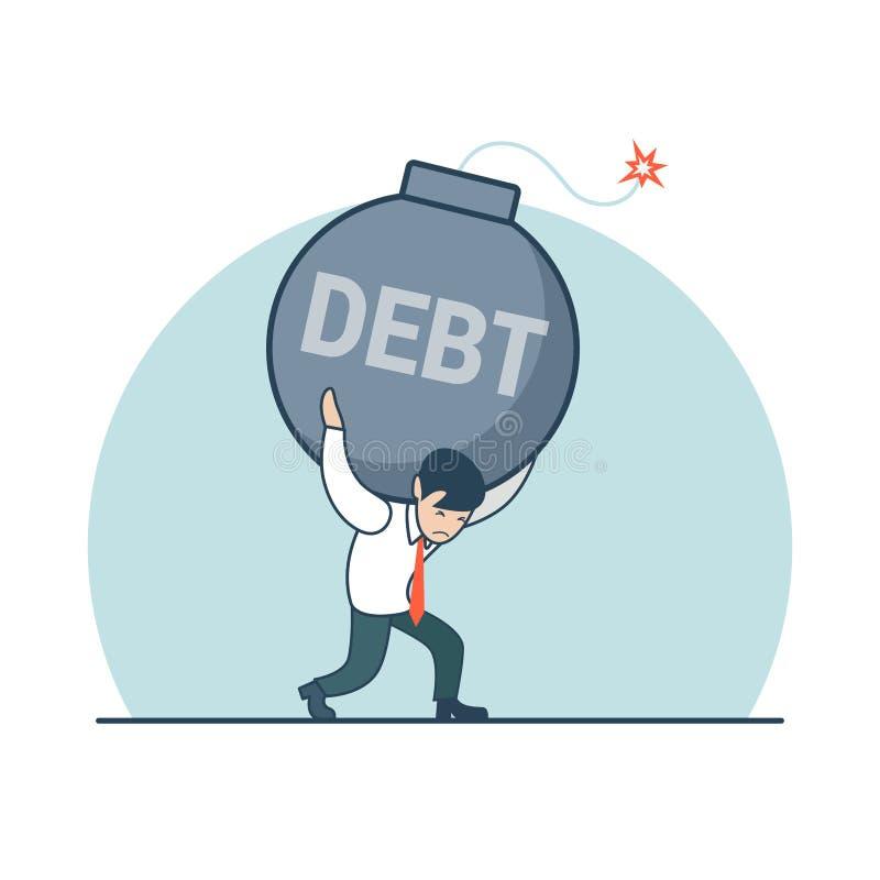 L'homme plat linéaire d'affaires portent le vecteur de dette de bombe illustration libre de droits