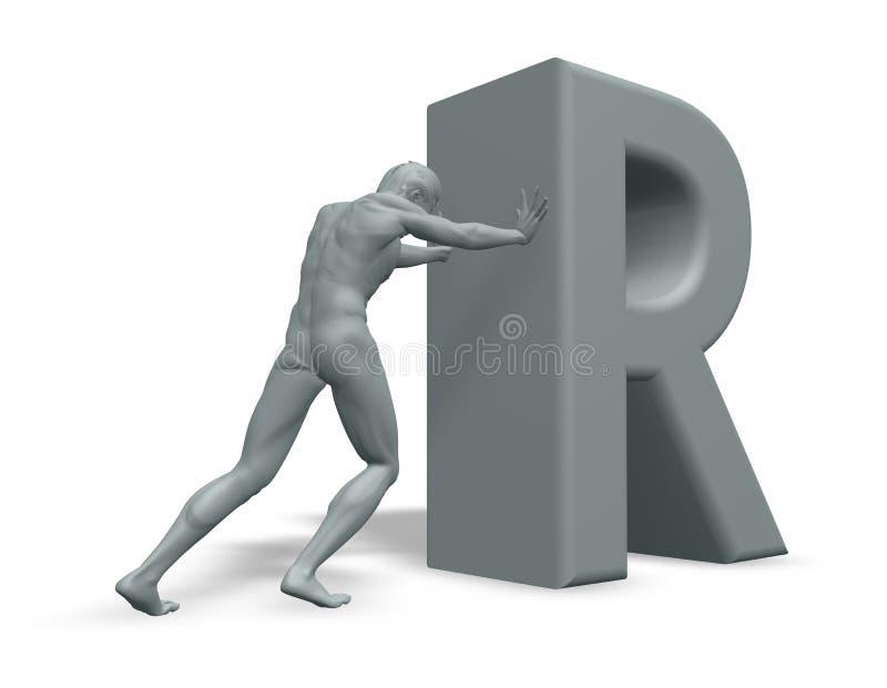 L'homme pousse la lettre R illustration de vecteur