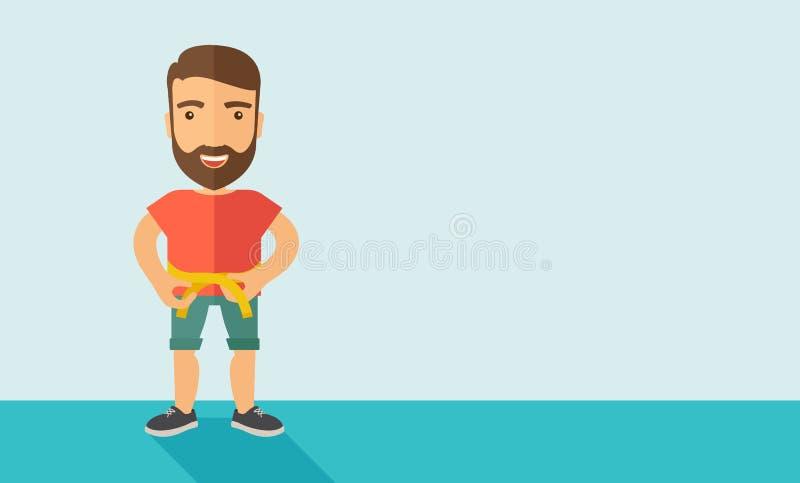 L'homme pratique l'exercice de karaté illustration stock