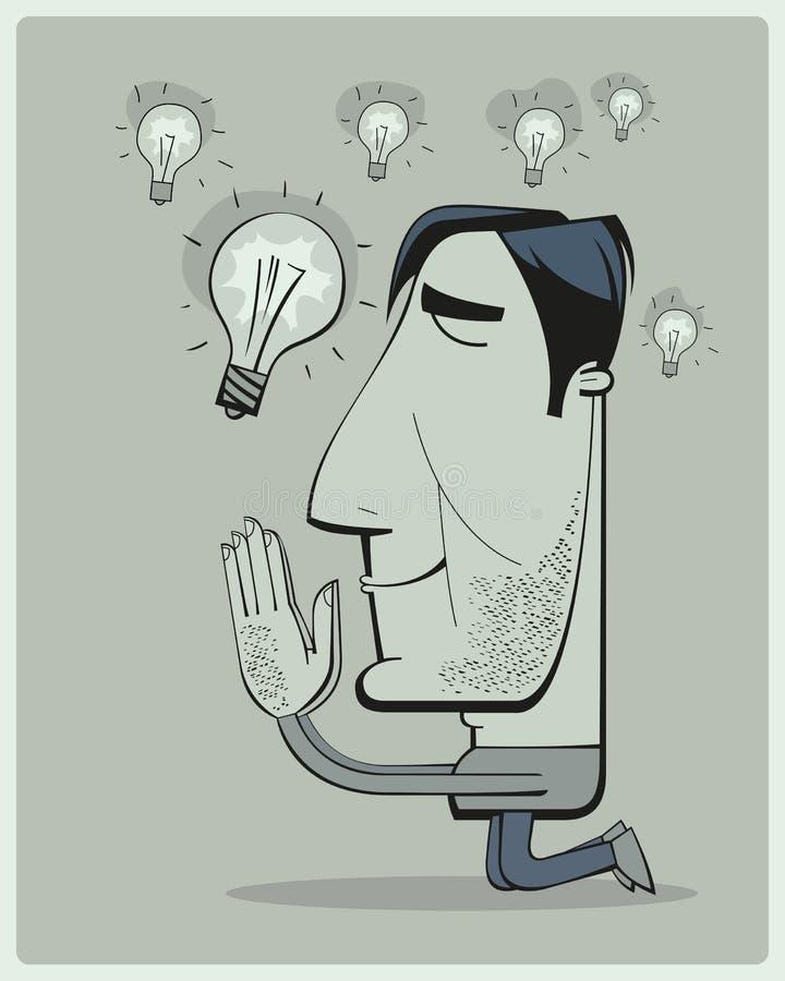 L'homme prie pour des idées illustration libre de droits