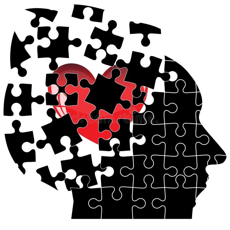 L'homme principal de casse-tête avec un coeur se brise dans illustration de vecteur