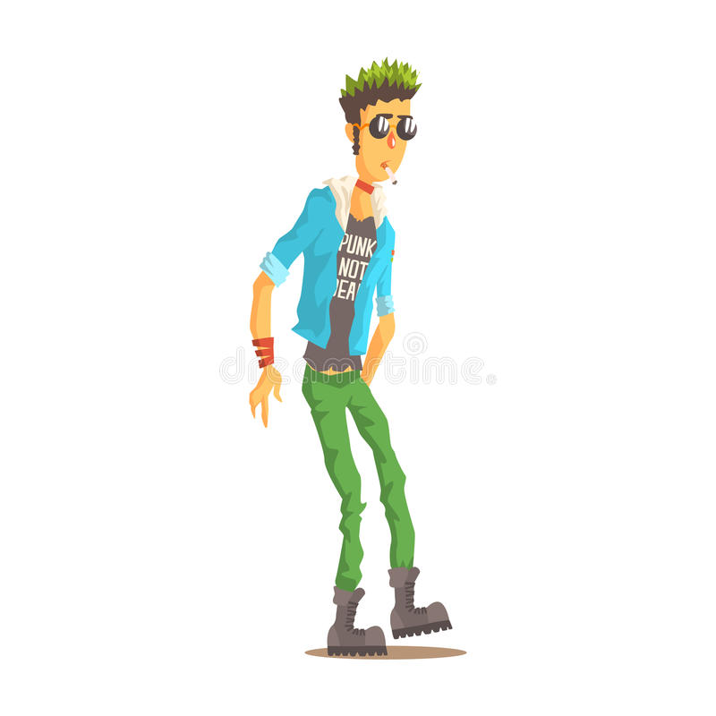 L'homme punk avec les cheveux verts s'est habillé dans l'habillement de style de punks, illustration colorée de vecteur de caract illustration libre de droits
