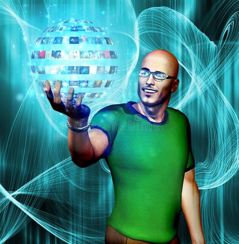 L'homme regarde fixement dans la sphère de media illustration de vecteur