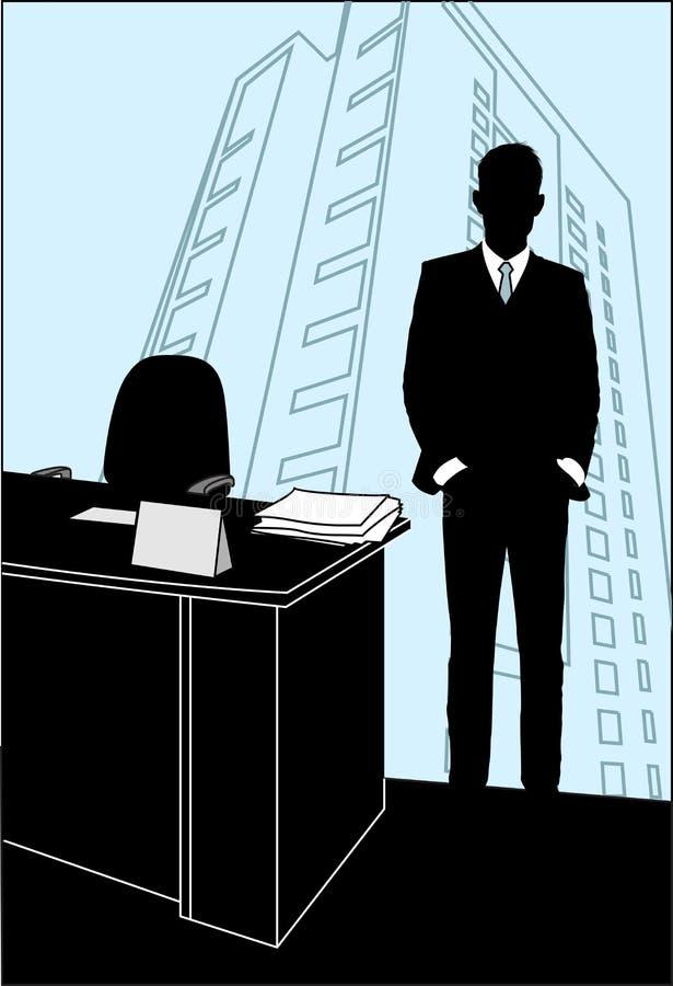 L'homme reste dans le bureau près de la table illustration de vecteur
