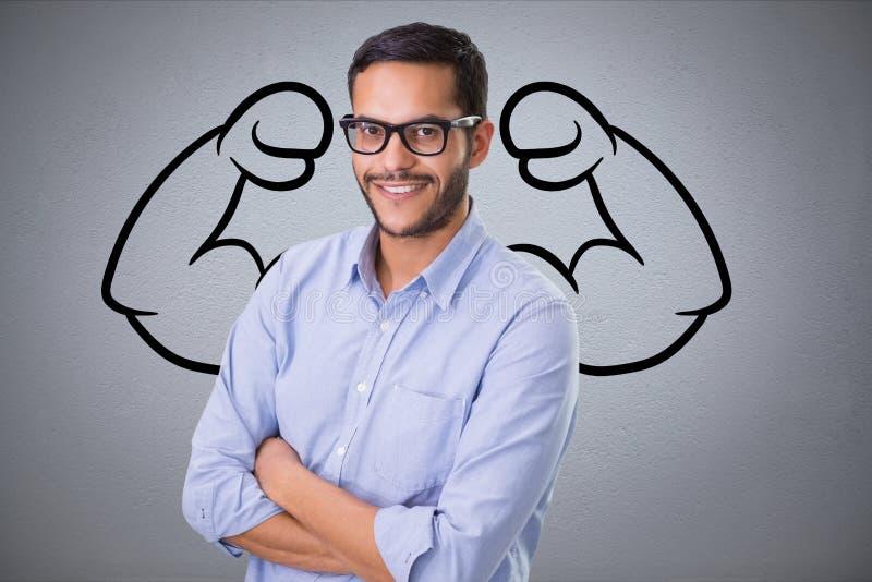 l'homme sûr d'affaires sur le fond gris avec le dessin du fléchissement muscles images libres de droits