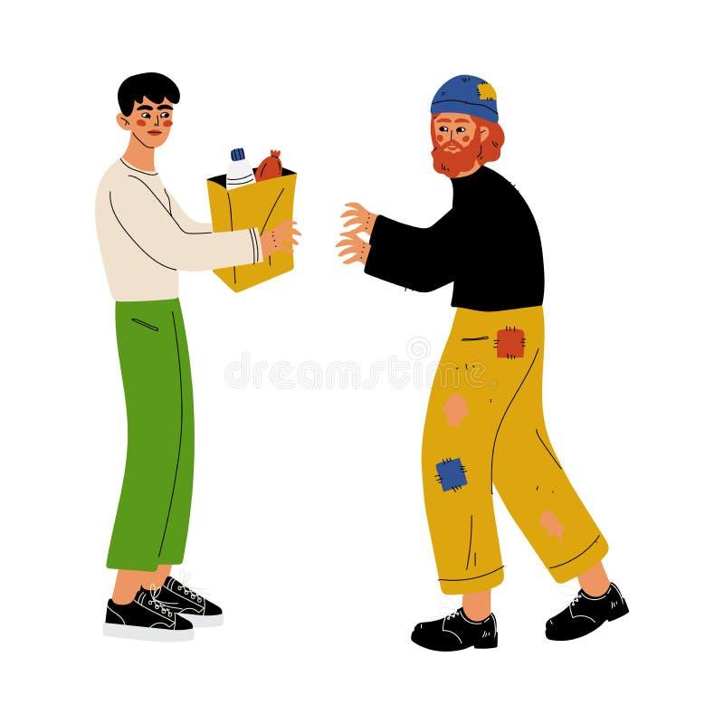 L'homme sans abri de aide volontaire masculin, offrir, la charité et les personnes de soutien dirigent l'illustration illustration de vecteur
