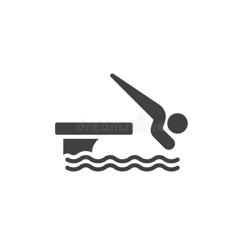 L'homme sautant dans l'icône de vecteur de piscine illustration de vecteur