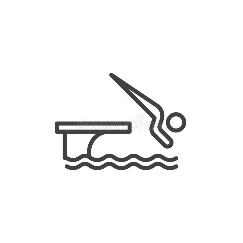 L'homme sautant dans la ligne icône de piscine illustration de vecteur