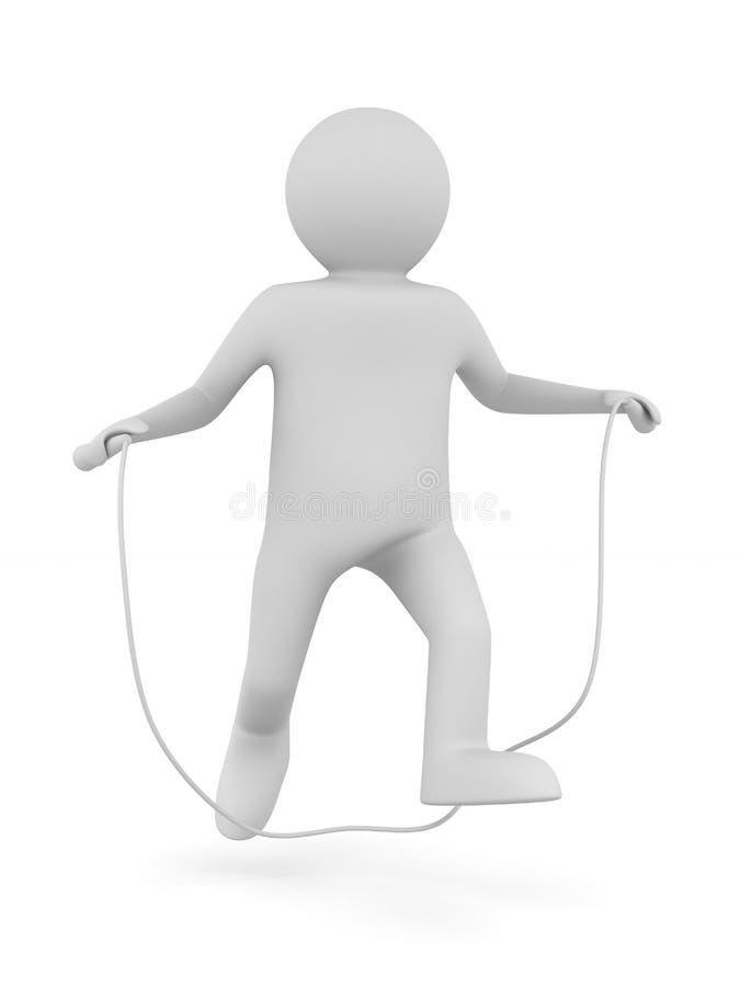 L'homme saute sur la corde à sauter illustration stock