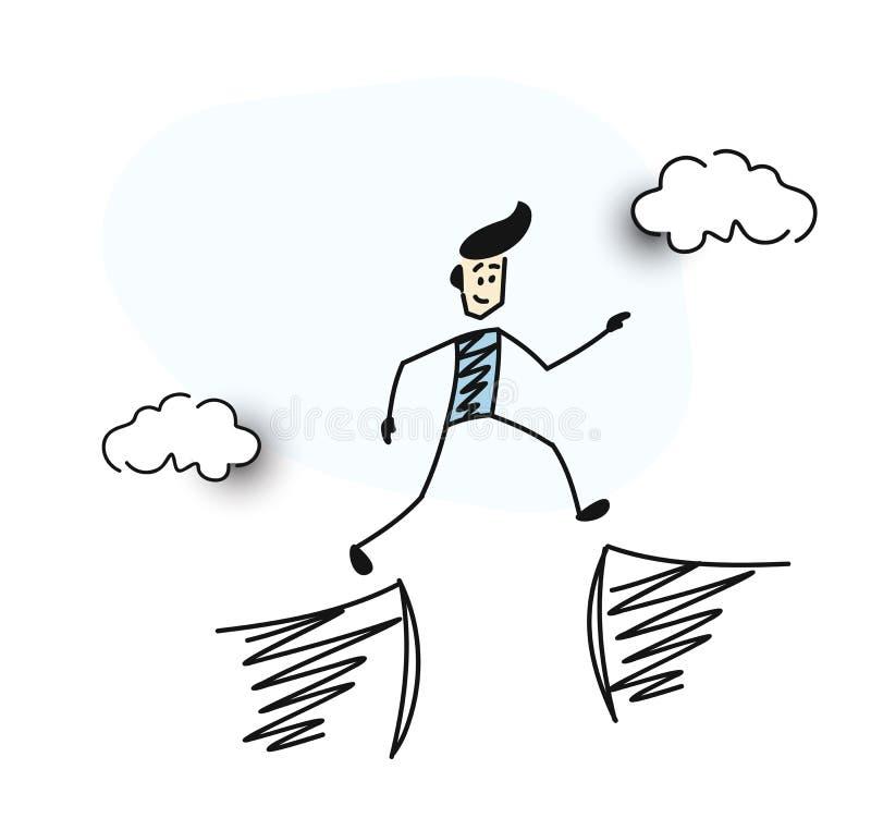 L'homme sautent par l'espace entre la colline illustration de vecteur