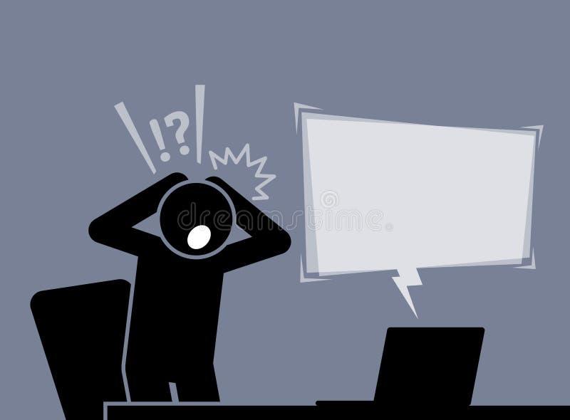 L'homme se sent choqué et étonné après lecture des actualités de l'Internet illustration libre de droits