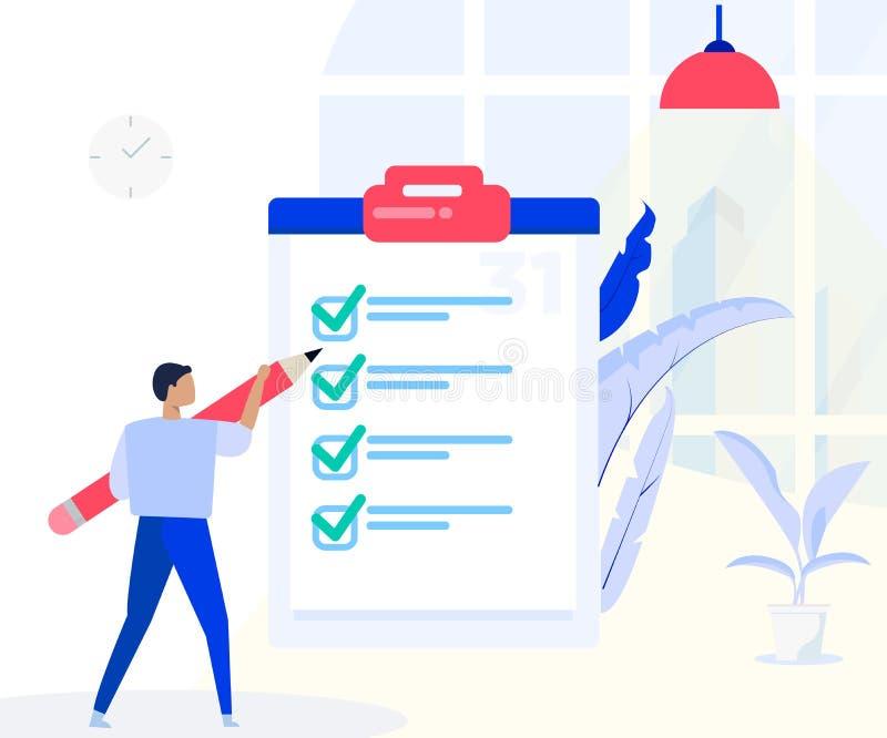 L'homme se tient avec la grande liste de contrôle, prévoyant la bannière de concept de programme avec des caractères Bonne gestio illustration stock