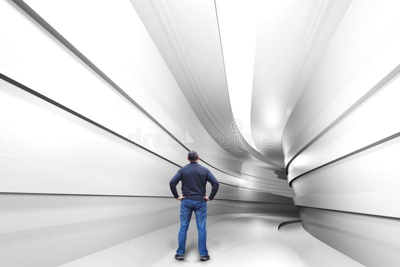 L'homme se tient dans un tunnel avec un tour illustration libre de droits