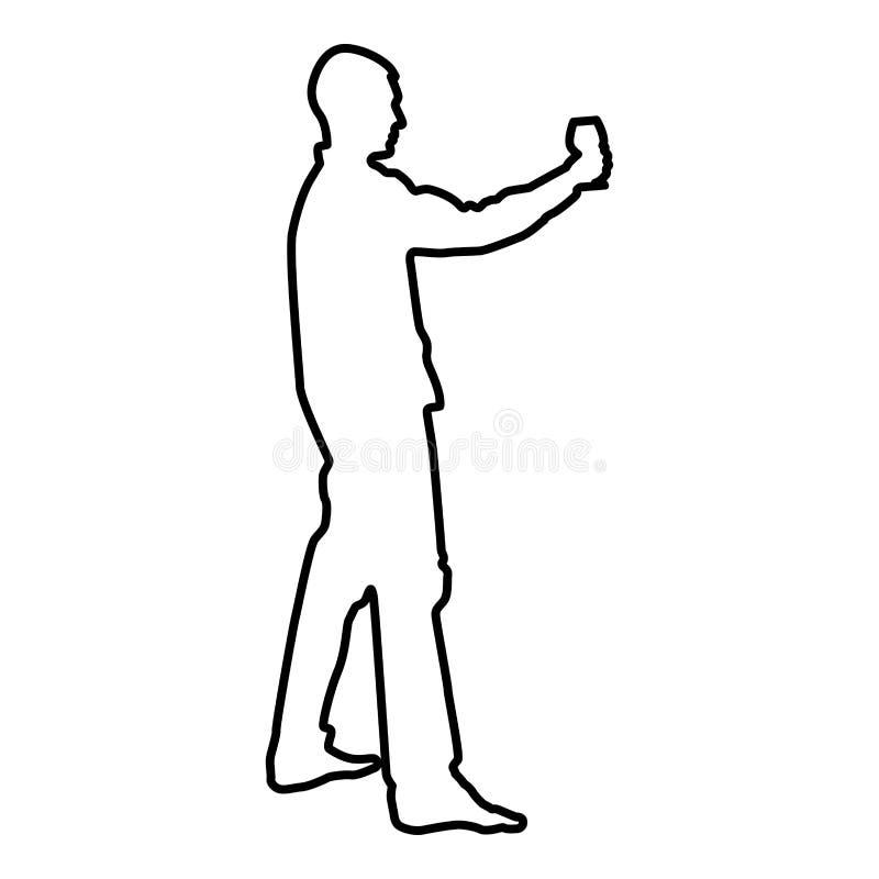 L'homme se tient en long verre de main de vin environ pour faire pour griller l'image plate de style de couleur d'icône de concep illustration stock
